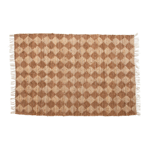 Cotton & Jute Rug with Diamond Pattern & Fringe, Natural & Brown Default Title