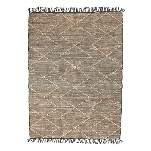 Woven Cotton & Jute Rug with Diamond Pattern & Fringe, Black & Natural Default Title