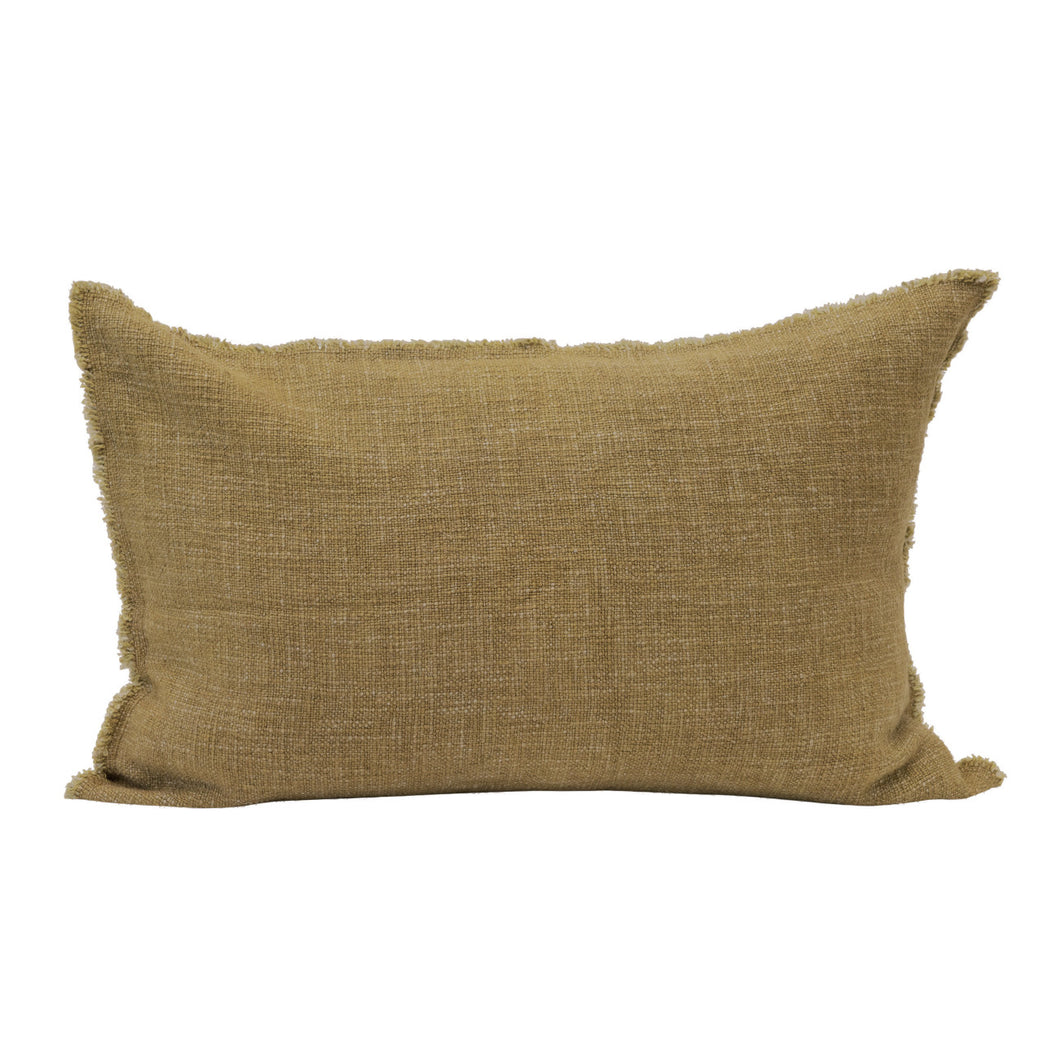Linen Blend Lumbar Pillow with Frayed Edges, Olive Color Default Title
