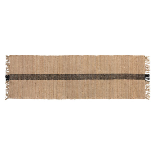 Jute & Cotton Floor Runner with Black Woven Stripe, Natural Default Title