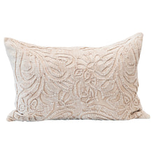 Load image into Gallery viewer, Cotton Velvet Lumbar Pillow with Cutwork, Cream Color Default Title
