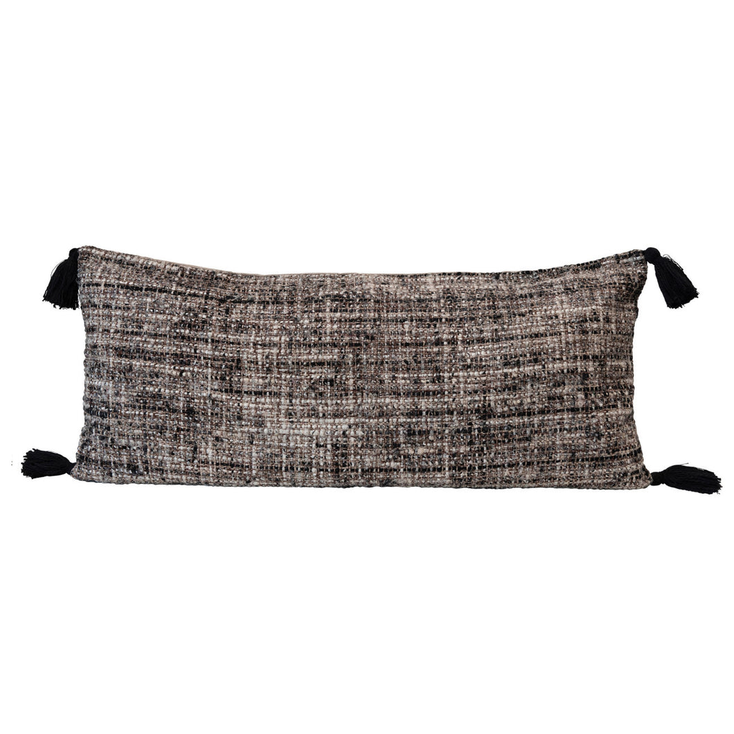Woven Bouclé Lumbar Pillow with Tassels, Multi Color Default Title