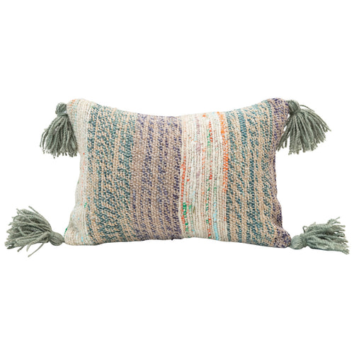 Cotton Woven Lumbar Pillow with Tassels, Multi Color Default Title
