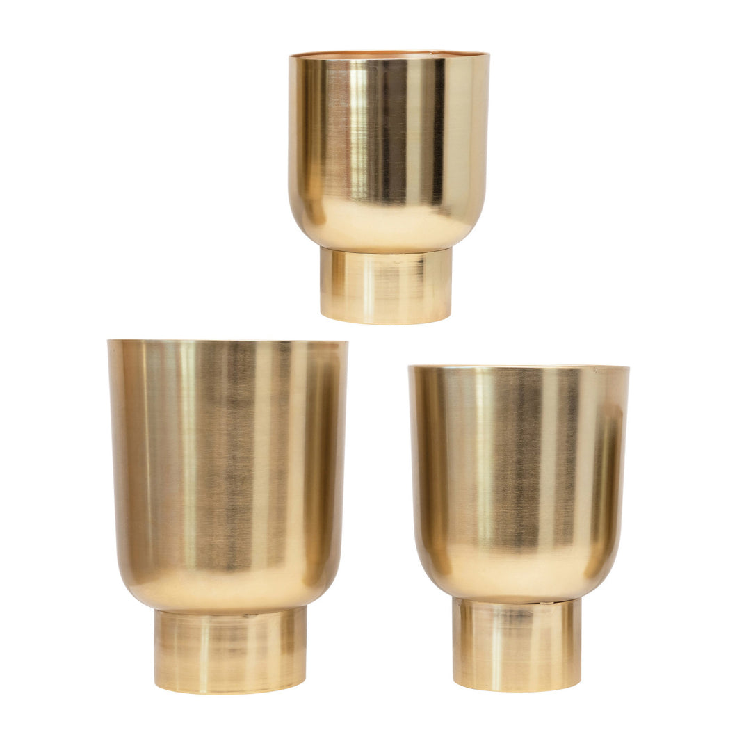 Metal Planters, Gold Finish, Set of 3 (Holds 10