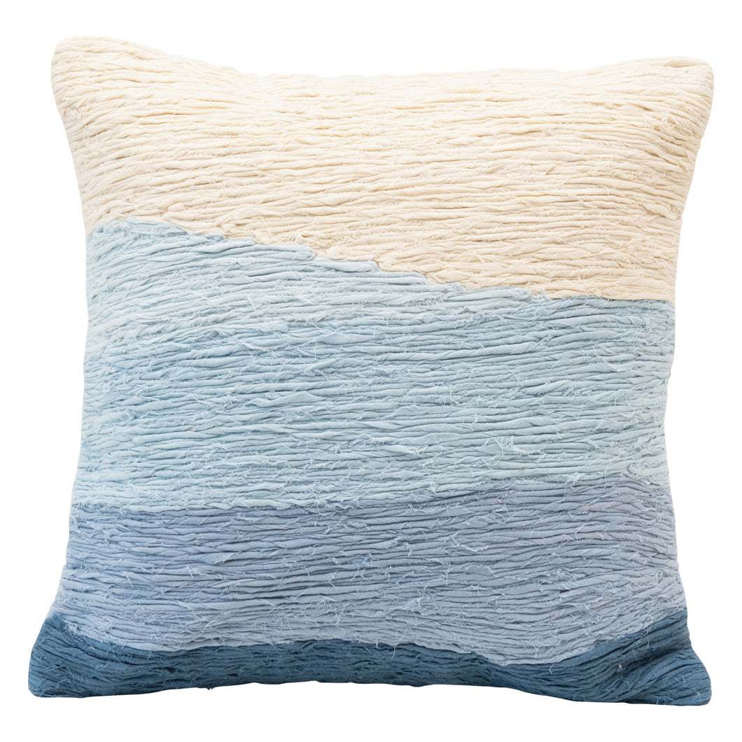 Cotton Appliqued Pillow with Wave, Blue Ombre Default Title