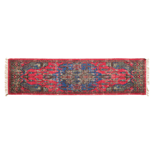 Woven Cotton Distressed Print Floor Runner, Multi Color Default Title