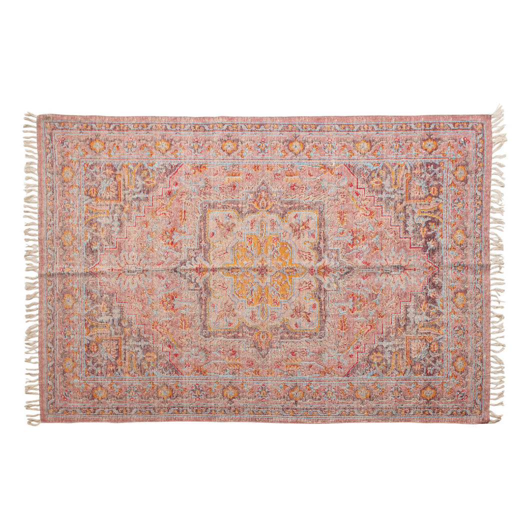 Woven Cotton Distressed Print Rug, Multi Color Default Title