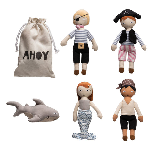 Cotton Pirate Dolls in Drawstring Bag