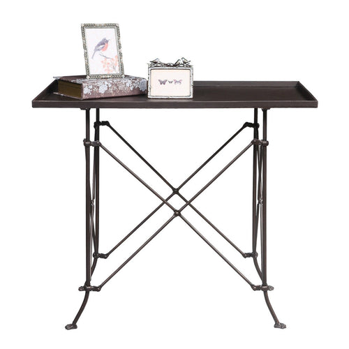 Small Rectangle Bronze Metal Table