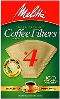 Melitta Number 4 Cone Filter Paper Natural Brown 100 Count