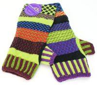 Solmate Socks Mismatched Fingerless Mittens, One Size - Purple