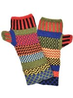 Solmate Socks Mismatched Fingerless Mittens, One Size - Red