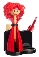 Vigar Lady Doll Office Desk Tidy, Red & Black