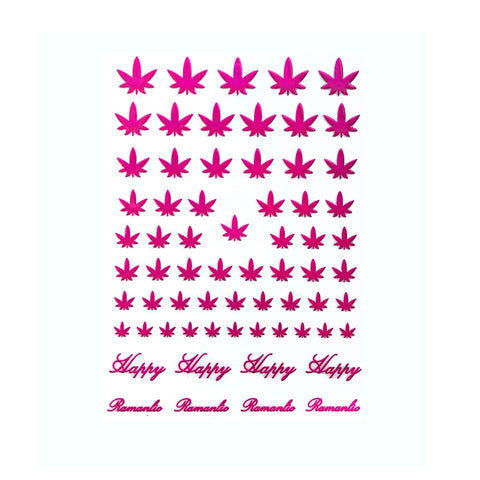 4/20 Weed Leaf / Fuchsia Pink Nail Stickers