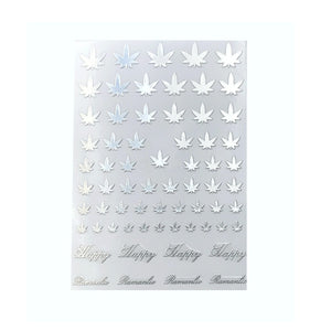 4/20 Weed Leaf / Silver Nail Stickers
