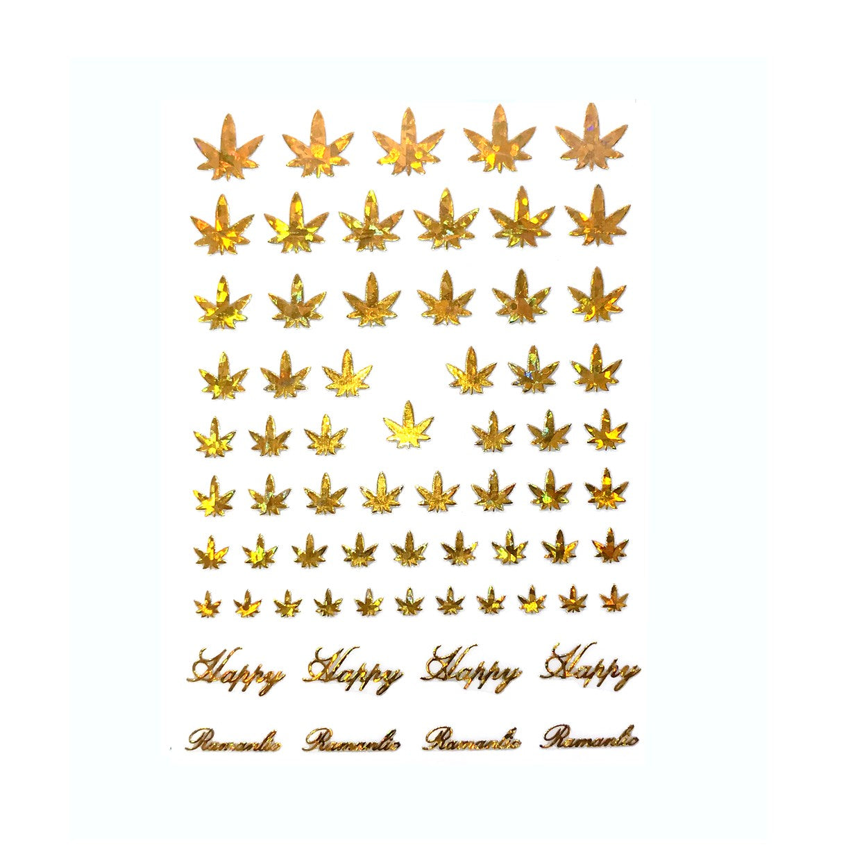 4/20 Weed Leaf / Gold Holo Nail Stickers