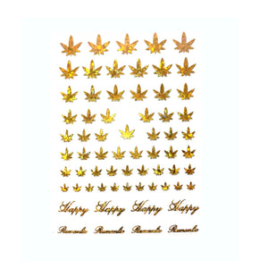 420 Leaf Gold Holo Nail Stickers