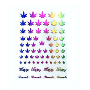 420 Leaf Rainbow Ombre Nail Stickers