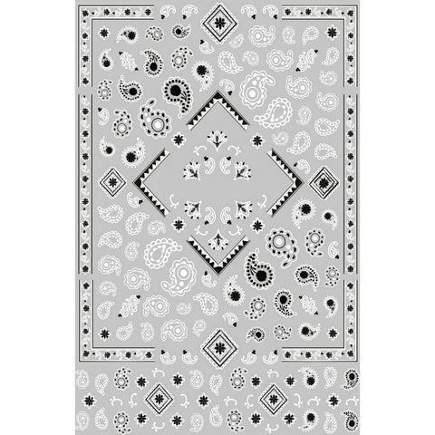 Pattern Bandana Black & White Nail Stickers