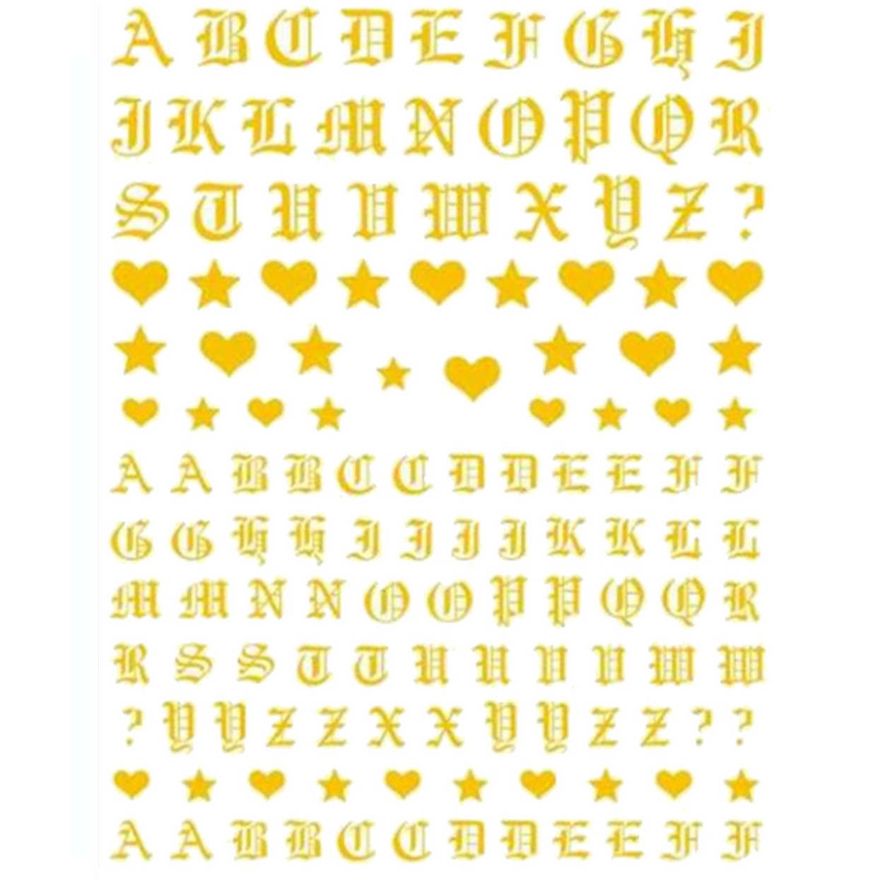 Font Gothic English Gold Nail Stickers
