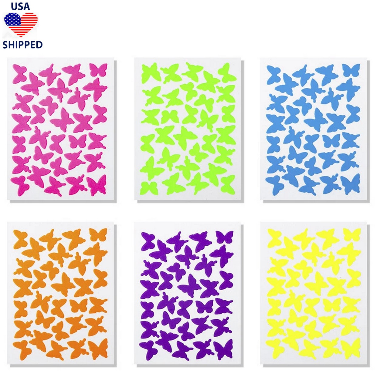 Butterflies Set of 6 Neon Nail Stickers