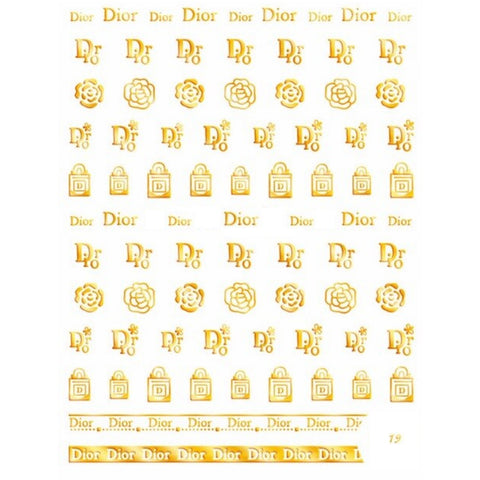 C  D Gold Nail Stickers