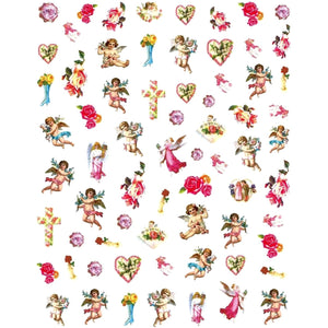 Angel Cherubs Roses Nail Stickers
