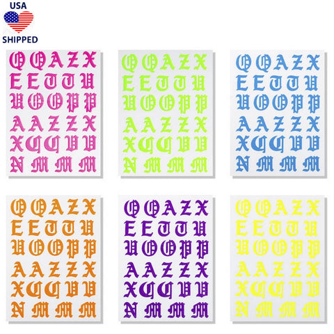 (USA) Font Gothic English Set of 6 Nail Stickers