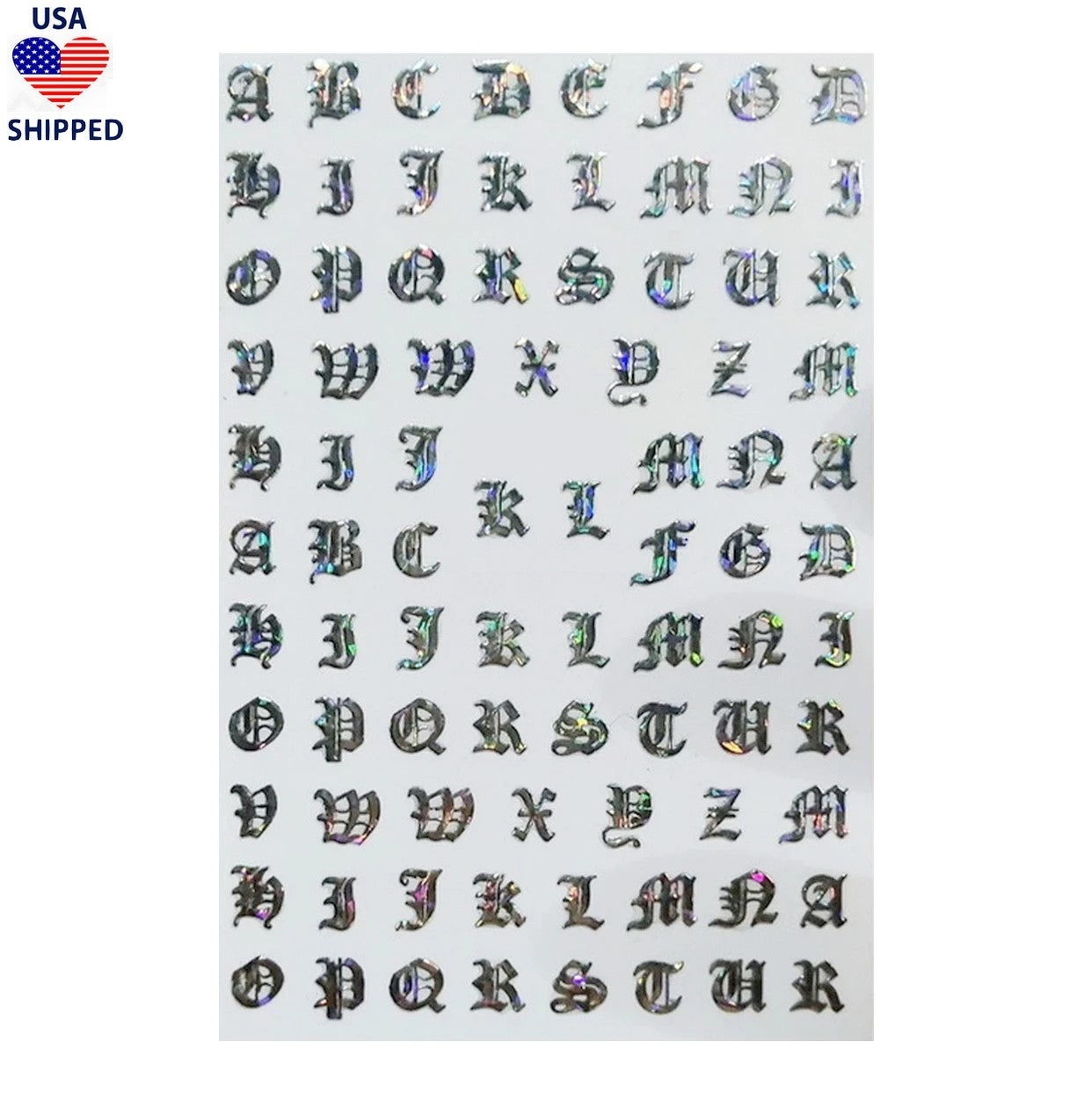 (USA) Font Gothic English Silver Holo Nail Stickers