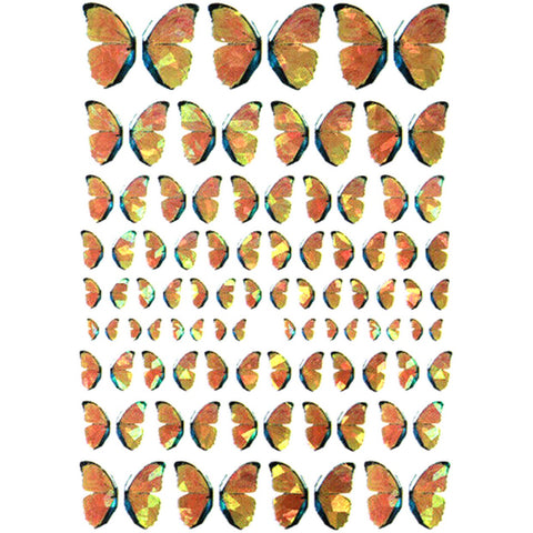 Butterflies Holo Amber Variety Nail Stickers
