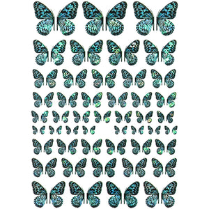 Butterflies Holo Blue Variety Nail Stickers