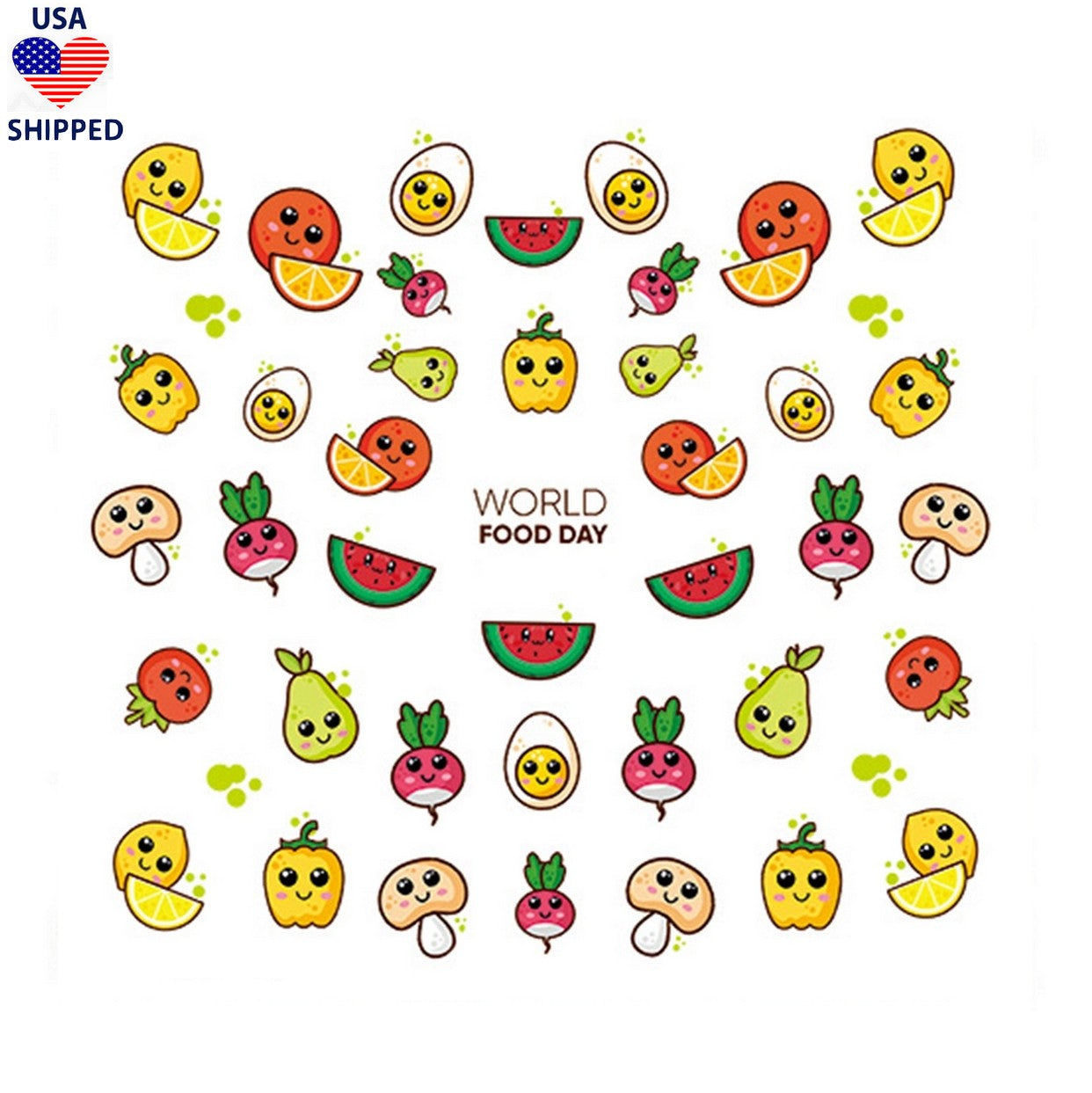 (USA) Food/Drinks Cute Fruit & Veg Nail Stickers