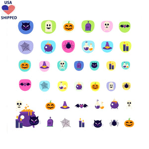 (USA) For Kids Halloween Nail Stickers