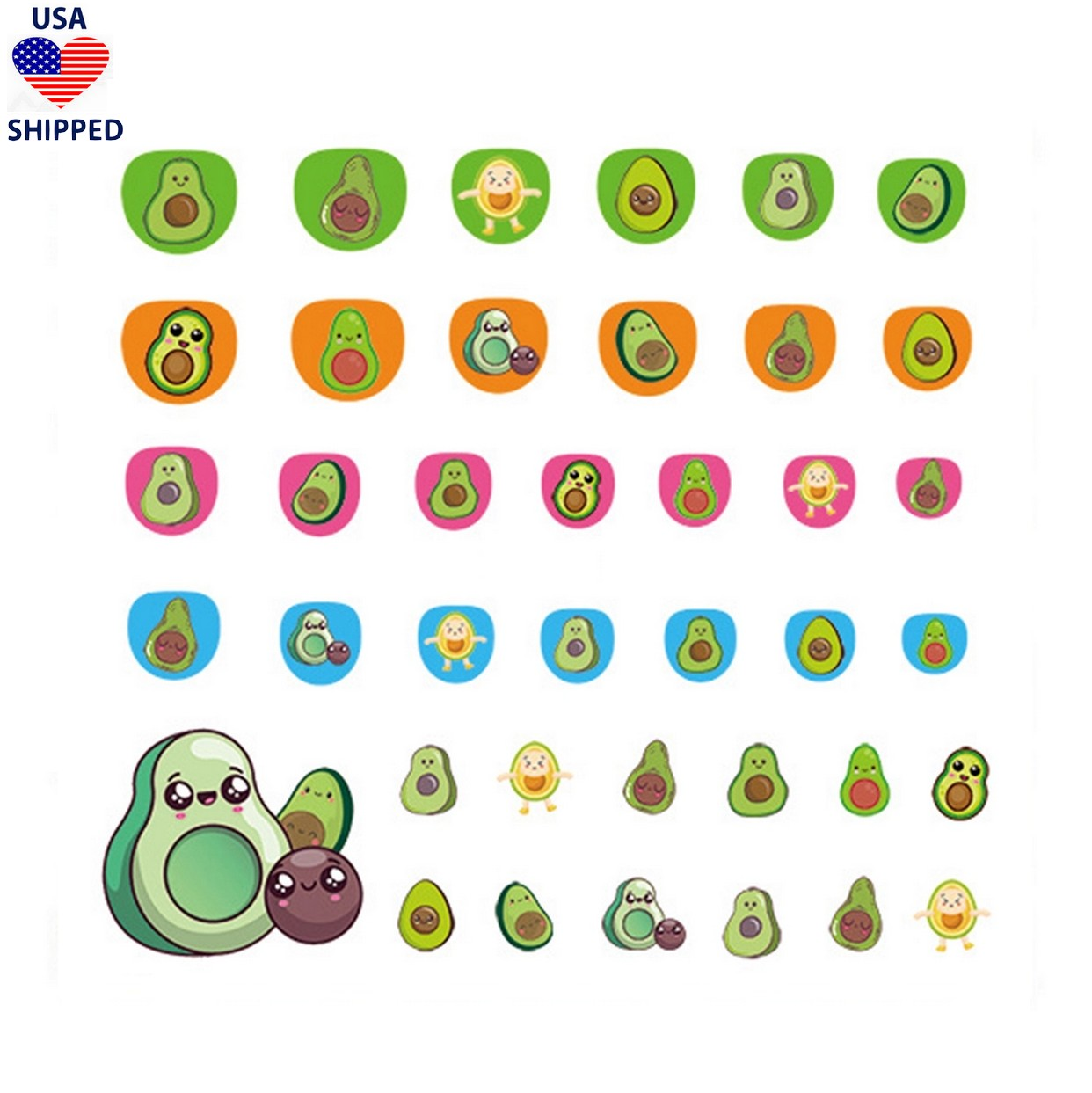 (USA) For Kids Avocados Nail Stickers