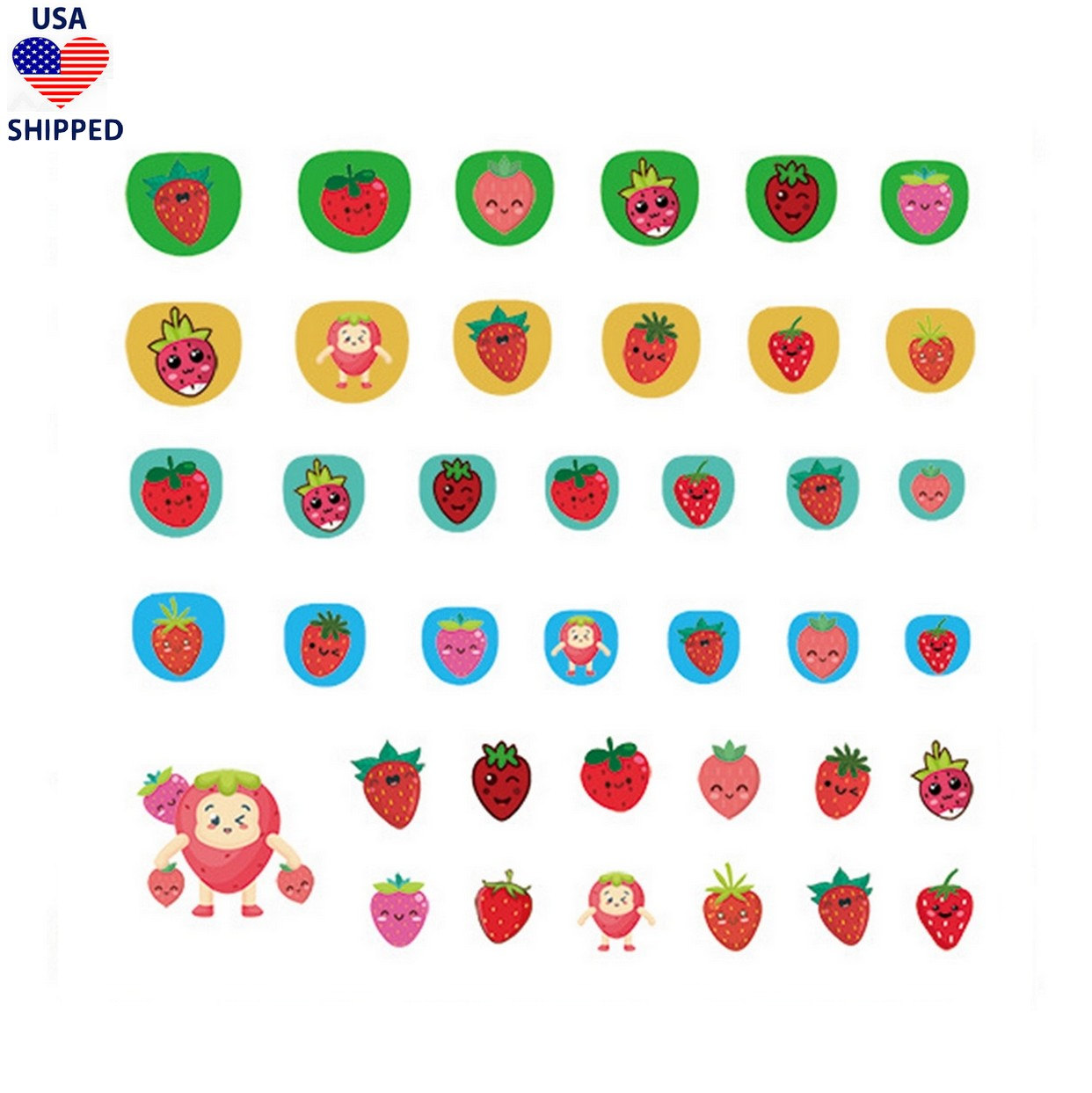 (USA) For Kids Strawberries Nail Stickers