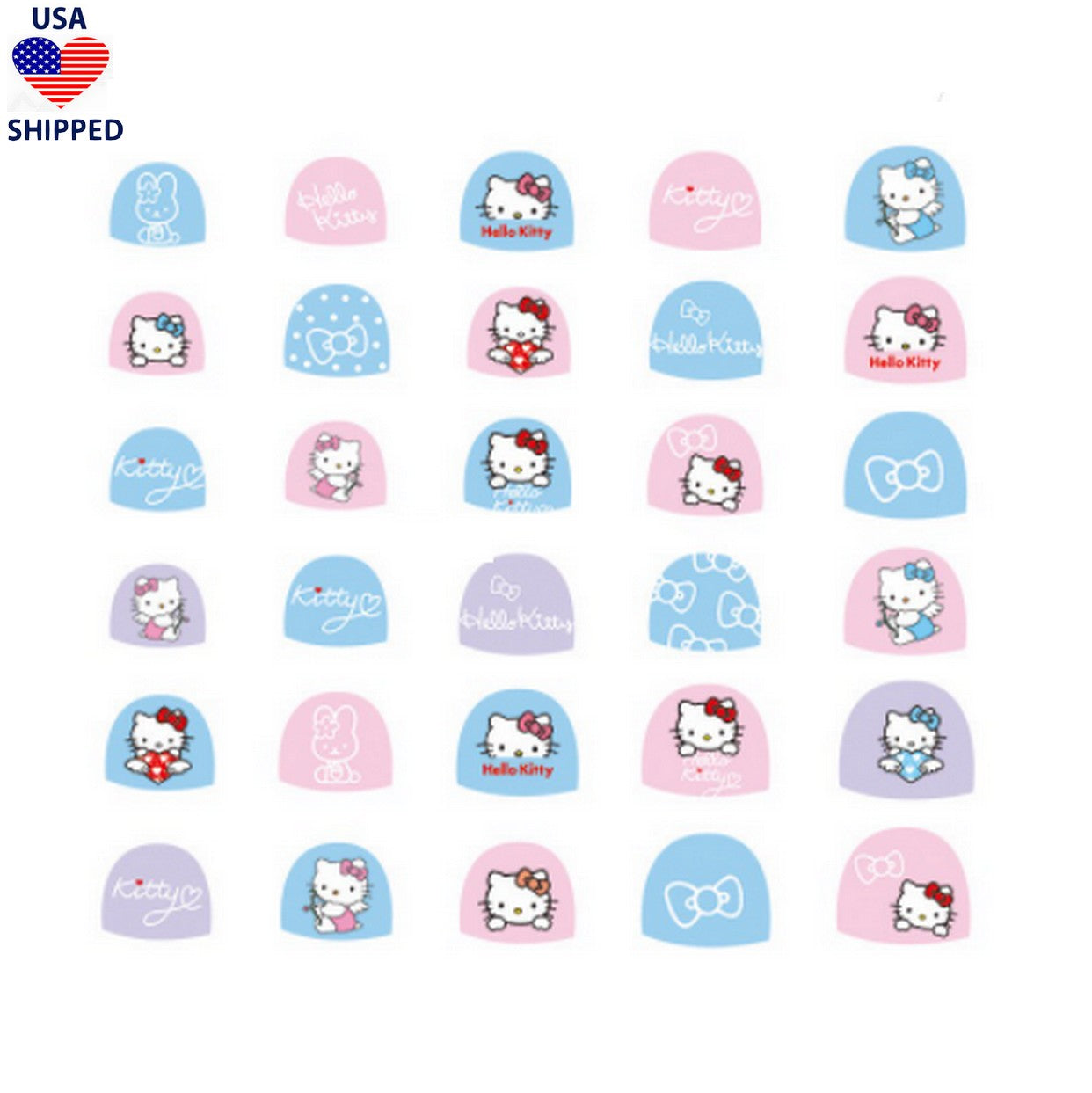 (USA) For Kids Kitty Nail Stickers