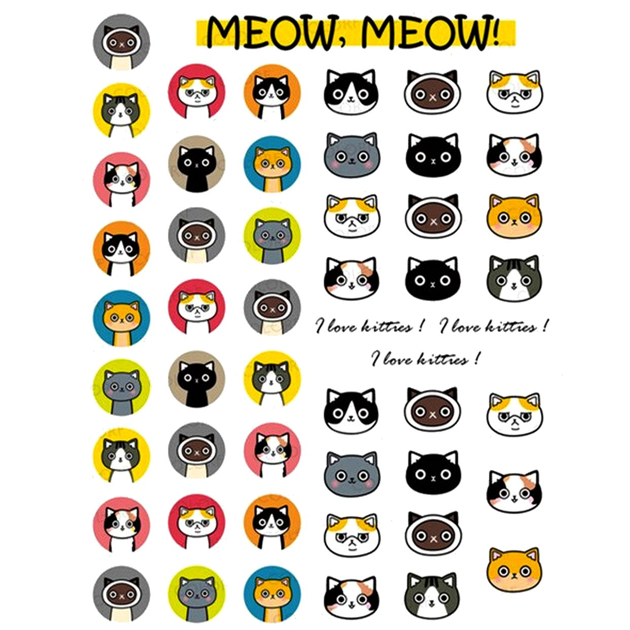 Cats Meow Meow Nail Stickers