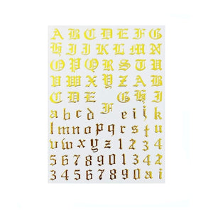 Font & Numerals Gothic English Gold Nail Stickers
