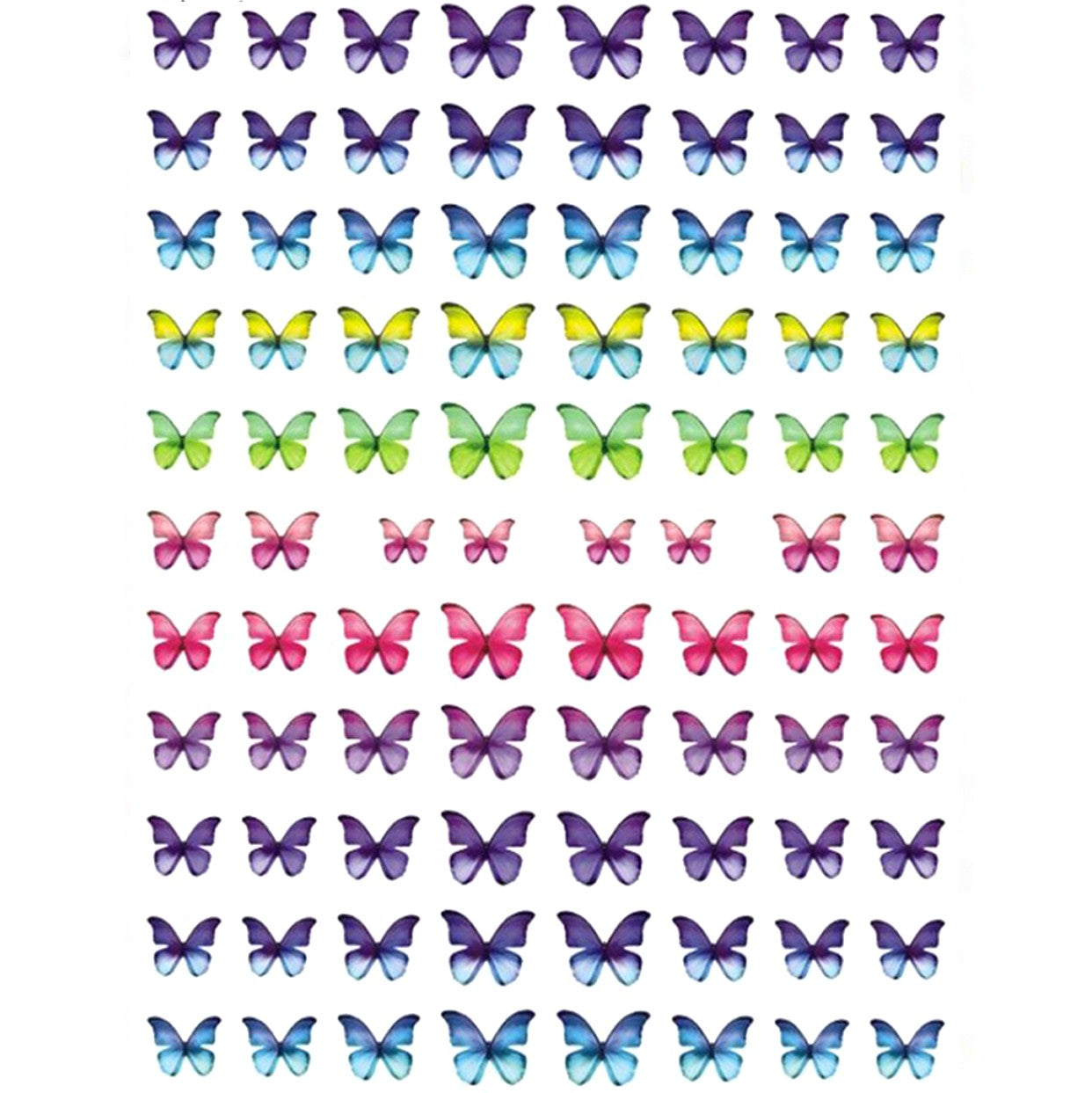 Butterflies Ombre Gradient Nail Stickers