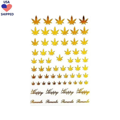 (USA) 4/20 Weed Leaf / Gold Nail Stickers