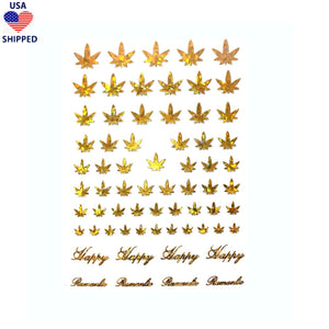(USA) 4/20 Weed Leaf / Gold Holo Nail Stickers