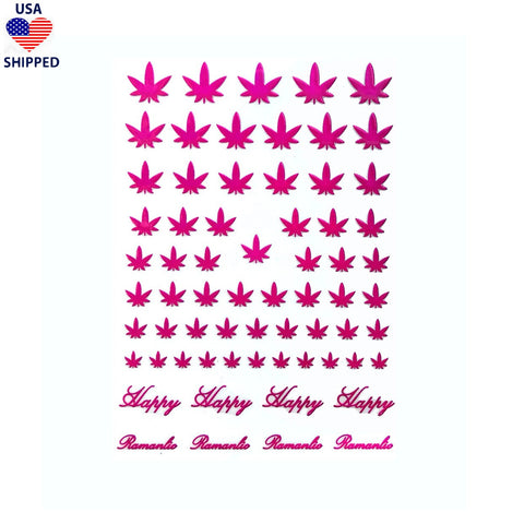 (USA) 4/20 Weed Leaf / Fuchsia Pink Nail Stickers