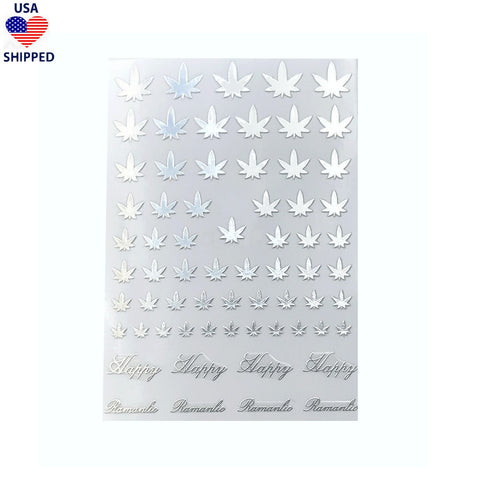 (USA) 4/20 Weed Leaf / Silver Nail Stickers