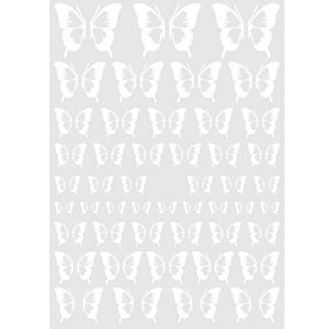 Butterflies White Outline Nail Stickers