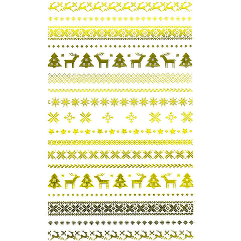 Christmas Pattern Gold Nail Stickers