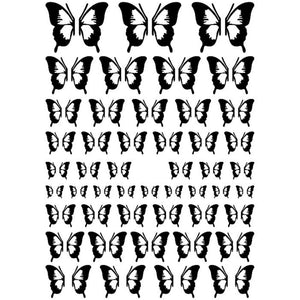 Butterflies Black Outline Nail Stickers