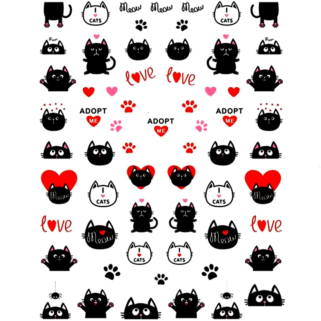 Cats Black Kitty Nail Stickers