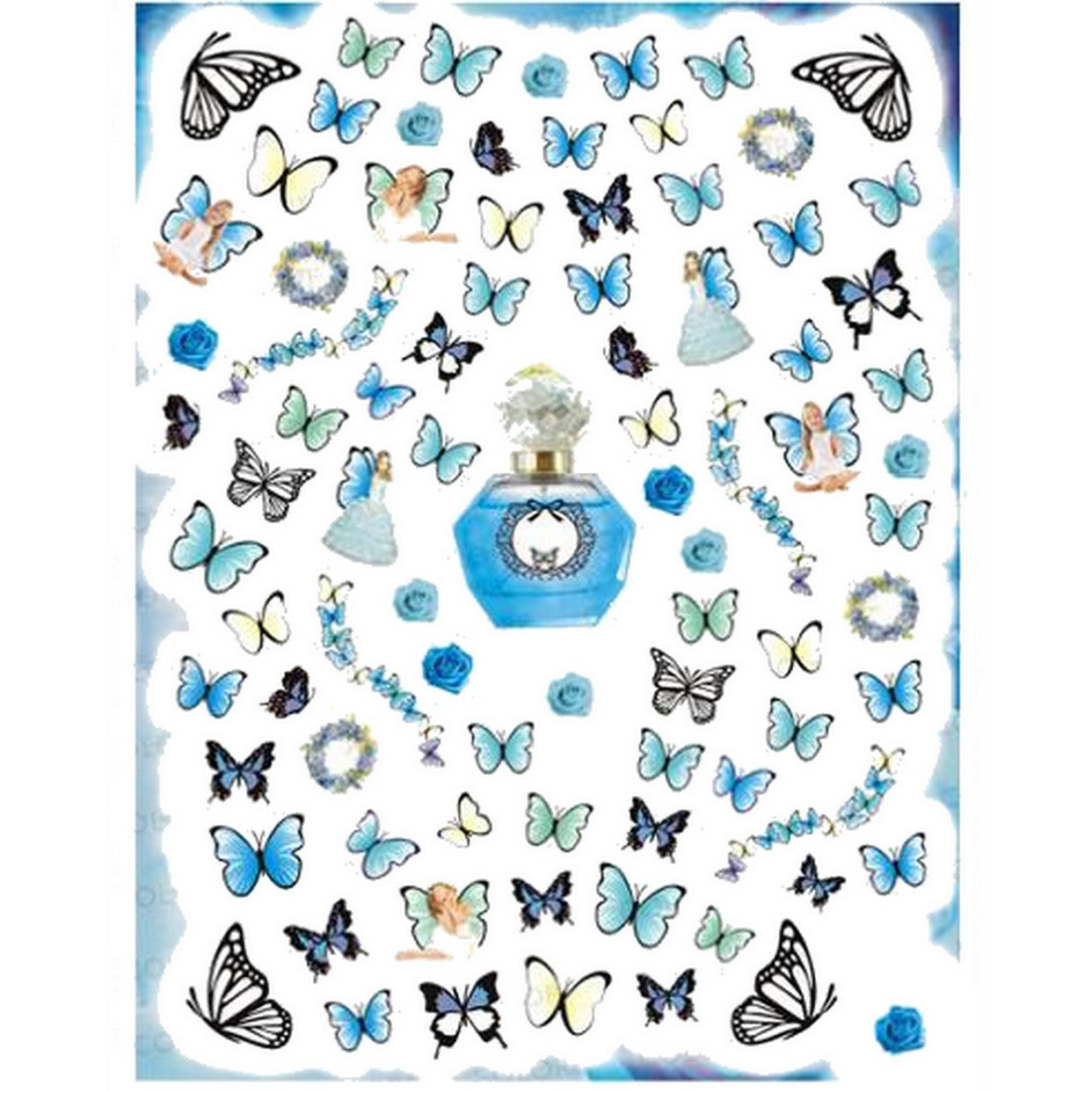 Butterflies Blue Fairy Mix Nail Stickers