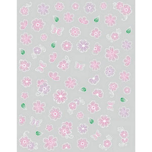 Floral Blush Pink Blossoms Nail Stickers