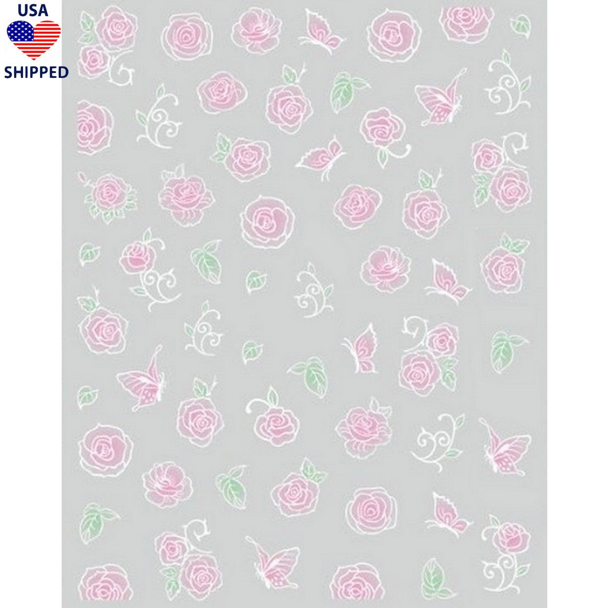 (USA) Floral Blush Roses Nail Stickers